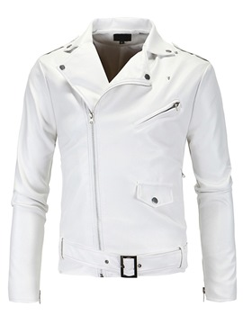 Ericdress Zip White PU Vogue Casual Men's Jacket