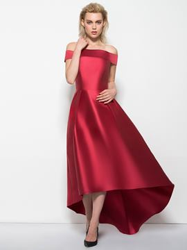 Ericdress A-Line Off-the-Shoulder Cap Sleeves Asymmetry Evening Dress