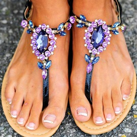 Ericdress Purple Rhinestone Clip Toe Flat Sandals
