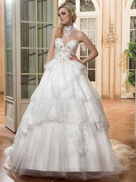 Ericdress Charming Sweetheart Beaded Ball Gown Wedding Dress