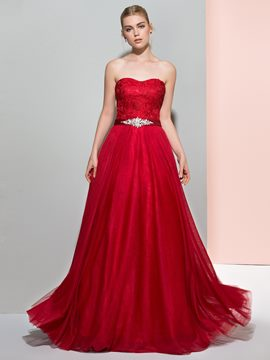 Ericdress A-Line Sweetheart Beading Lace Sashes Floor-Length Prom Dress
