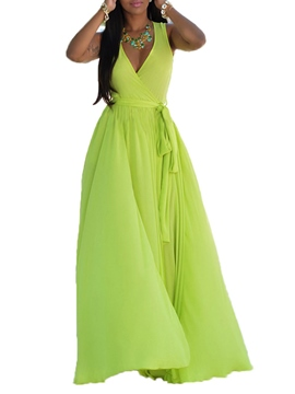 Ericdress solide couleur Lace-Up Split Expansion robe Maxi