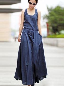 Ericdress Plain Sleeveless Expansion Maxi Dress