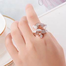 Ericdress Imitation Diamond Crystal Flower Ring