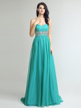 Ericdress A-Line Sweetheart Beading Crystal Sequins Sweep Train Prom Dress