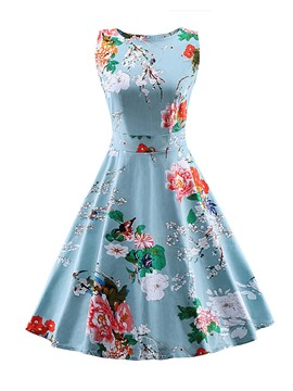Ericdress Floral Print Bowknot Patchwork Vintage Casual Dress