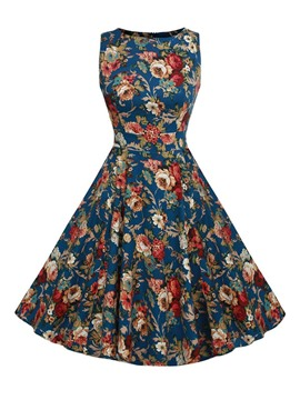 Ericdress Floral Print Sleeveless Vintage A Line Dress