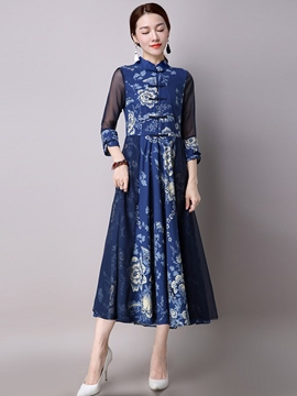 Ericdress Floral Print Ethnic Maxi Dress