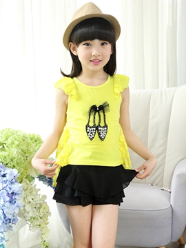 Ericdress Cartoon Beads Patchwork Girls T-Shirt