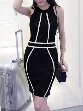 Ericdress Color Block Patchwork Sleeveless Bodycon Dress