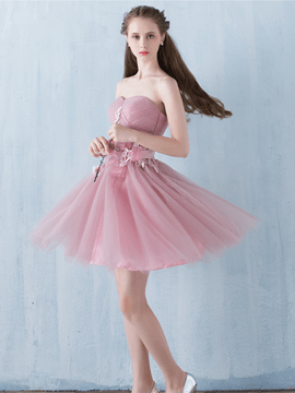 Ericdress A-Line Sweetheart Appliques Pleats Sashes Homecoming Dress