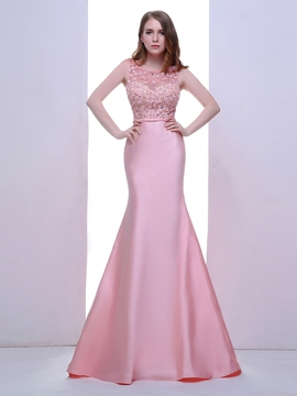 Ericdress Mermaid Scoop Beaded Crystal Pearls Sweep Train Evening Dress