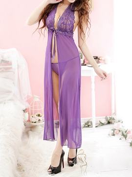 Ericdress Length Lace Deep V-Neck Sexy Slit Babydoll