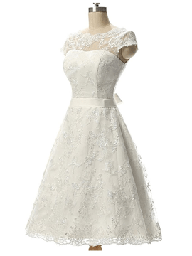 Ericdress Short Sleeves Lace Bateau Knee-Length Beach Wedding Dress