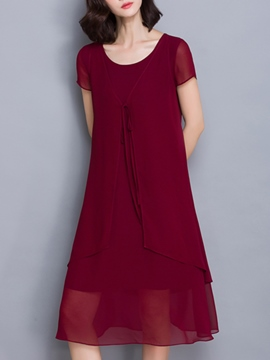 Ericdress Solid Color Double-Layer A-Line Casual Dress