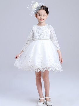 Ericdress Patchwork Long Sleeve Lace Girls Dress