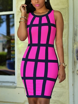 Ericdress Summer Plaid Bodycon Dress