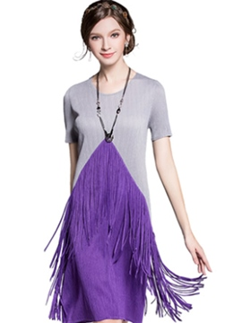 Ericdress Summer Tassel Patchwork Color Block Casual Dress