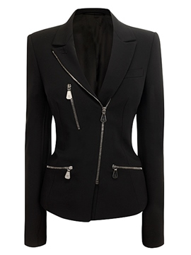 Ericdress Slim Plain Zipper Asymmetric Blazer