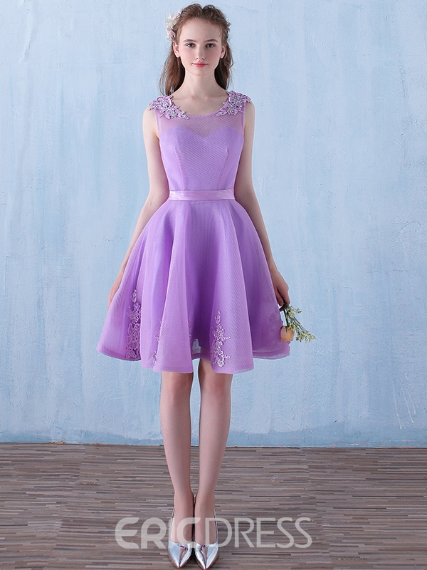 Ericdress A-Line Scoop Appliques Beading Knee-Length Homecoming Dress