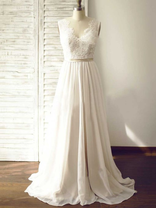 Ericdress Straps Button Belt Lace Beach Wedding Dress