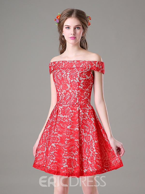 Ericdress A-Line Off-the-Shoulder Lace Short Homecoming Dress