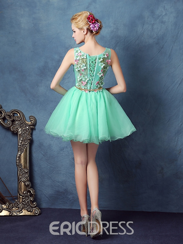 Ericdress Scoop Ball Gown Sashes Flowers Short Homecoming Dress
