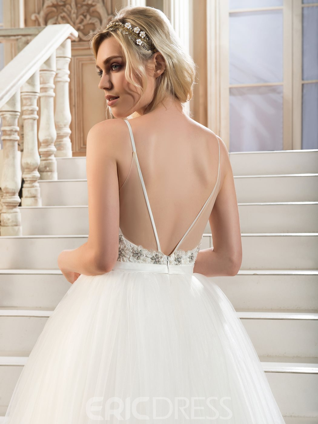 Ericdress Beautiful Spaghetti Straps Beaded Ball Gown Wedding Dress