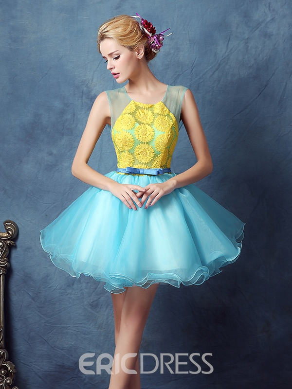 Robe de bal Ericdress Scoop imprimé robe Homecoming Mini jupettes