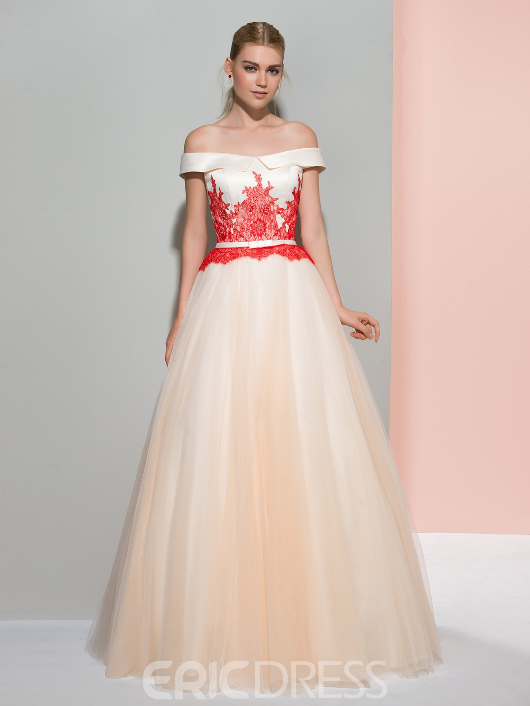 085092fc0eb Ericdress A-Line Off-the-Shoulder Cap Sleeves Lace Sashes Evening Dress (12200389)
