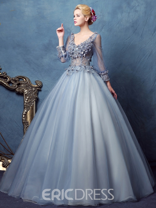 Ericdress Long manches v-Neck Ball robe dentelle longue robe de Quinceanera