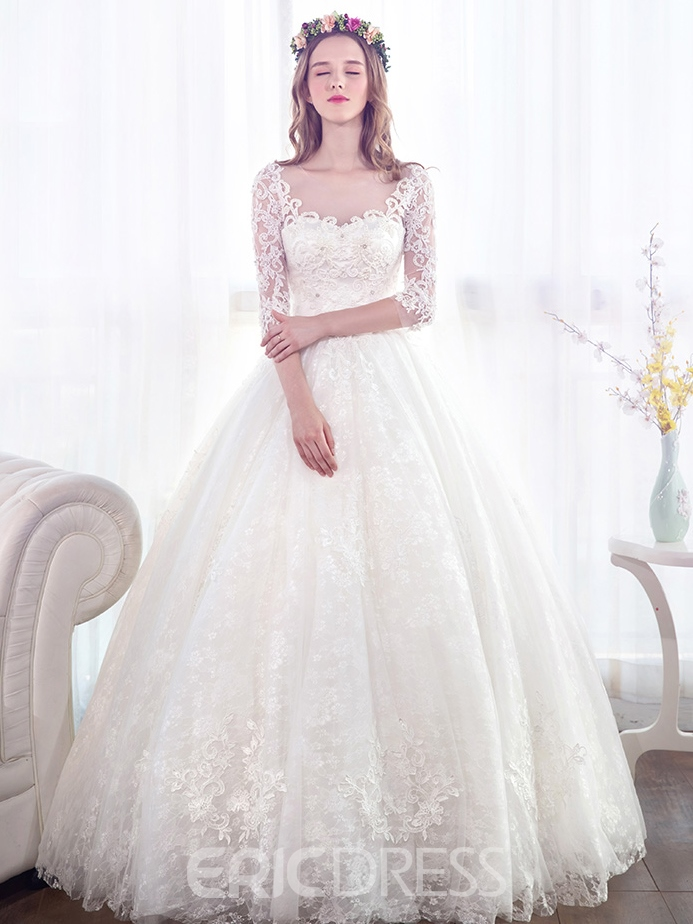 Ericdress Beautiful Beaded Ball Gown Wedding Dress With Sleeves ...