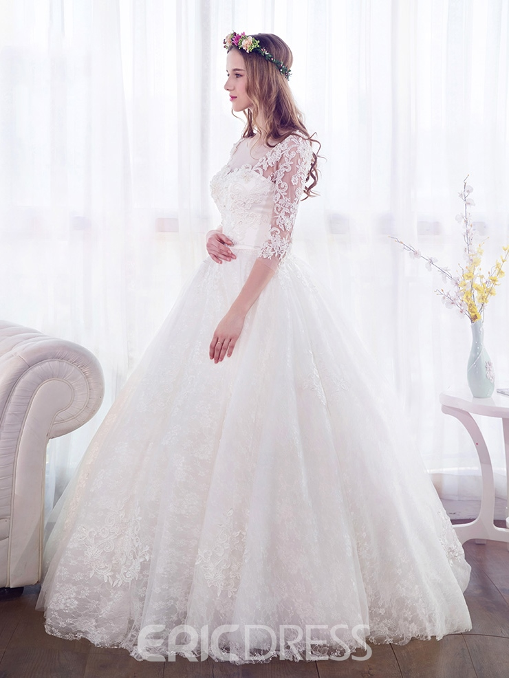 Ericdress Beautiful Beaded Ball Gown Wedding Dress With Sleeves