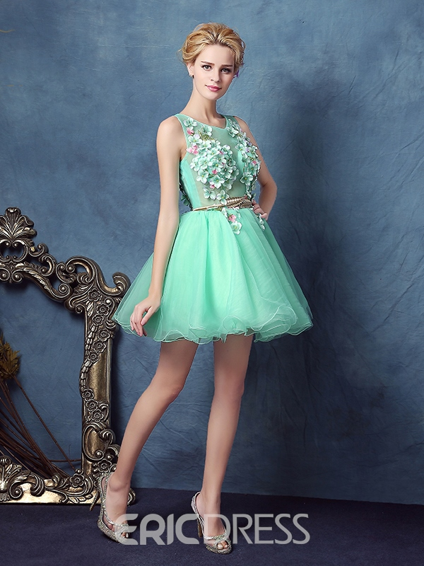 Ericdress Scoop Ball Gown Sashes Flowers Short Homecoming Dress ...