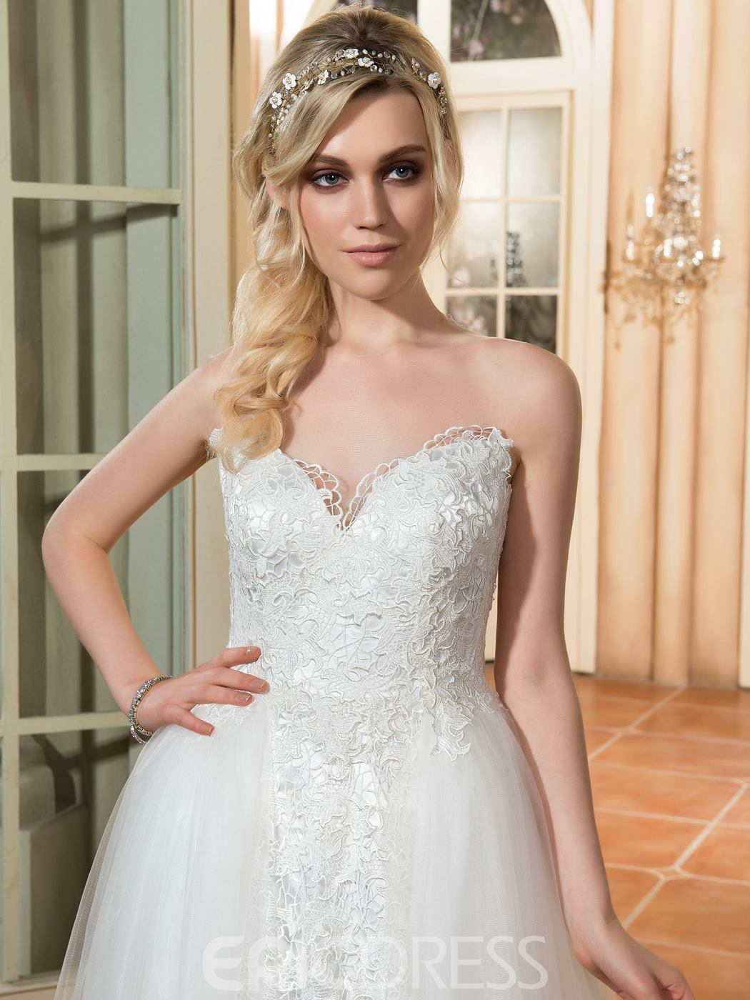 Ericdress Casual Illusion Neckline A Line Wedding Dress
