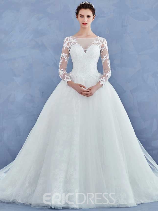 Ericdress Elegant Appliques Ball Gown Long Sleeves Wedding Sleeves