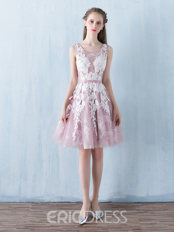 Ericdress A-Line Scoop Appliques Sashes Knee-Length Homecoming Dress