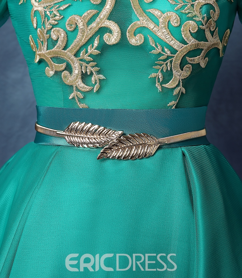 Ericdress Long Sleeves Scoop Ball Gown Appliques Sashes Homecoming Dress
