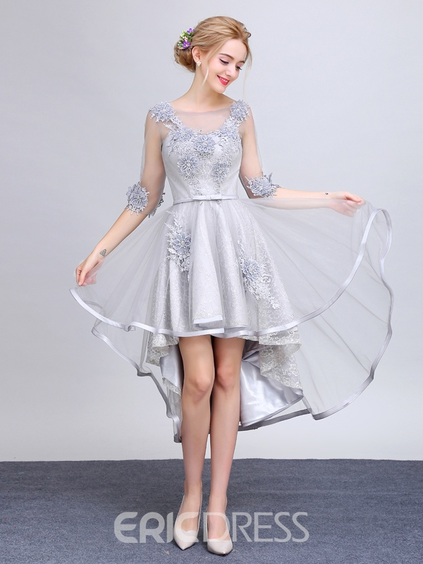 Ericdress Applique Lace High Low Asymmetry Prom Dress With Half Sleeve