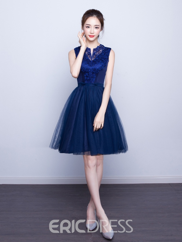 Ericdress A-Line V-Neck Lace Knee-Length Homecoming Dress