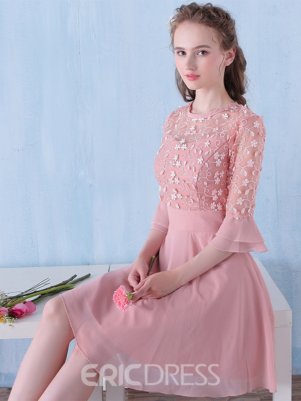 Ericdress A-Line Bateau 3/4 Length Sleeves Flowers Homecoming Dress