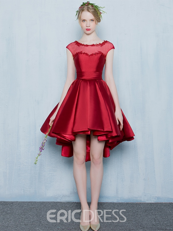 Ericdress A-LineCap Sleeves Asymmetry Homecoming Dress With Appliques And Beading