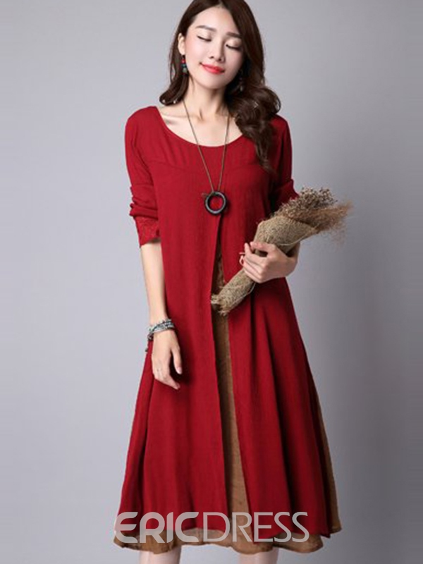 Ericdress Ethic Double-Layer Long Sleeve Casual Dress