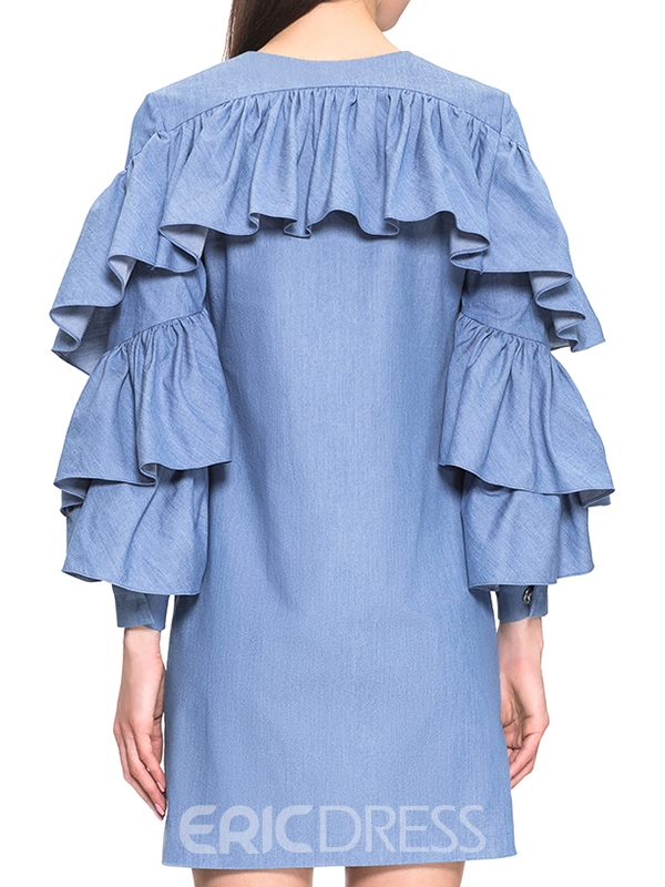 Ericdress Sweet Color Ruffle Sleeve Pleated Casual Dress