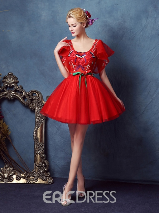 Ericdress Square Ball Gown Short Sleeves Embroidery Sashes Homecoming Dress