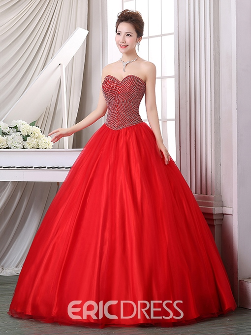 Ericdress Ball Gown Sweetheart Beaded Floor-Length Quinceanera Dress