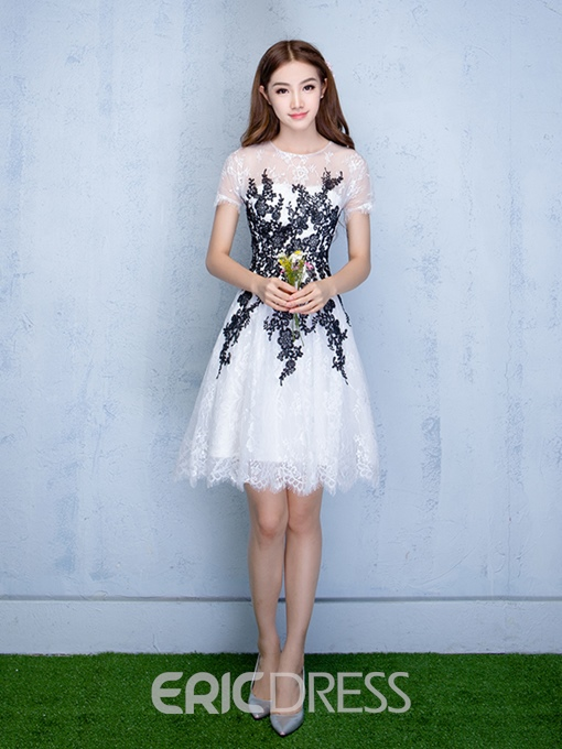 Ericdress A-Line Jewel Short Sleeves Appliques Lace Homecoming Dress