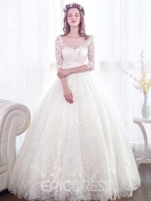 Ericdress Beaded Appliques Ball Gown Wedding Dress With Sleeves