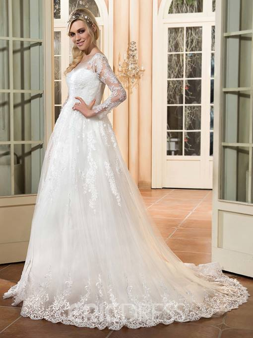 Ericdress Beautiful Appliques A Line Long Sleeves Wedding Dress