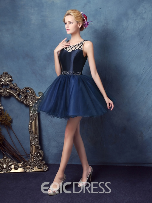 Ericdress Scoop Ball Gown Beaded Mini Homecoming Dress